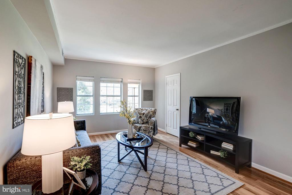 Living Room Freshly Painted with Soft Gray Paint! - 1735 N TROY ST #8-415, ARLINGTON