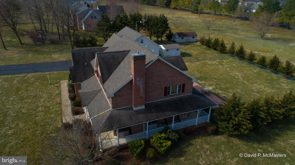 Aerial side view of home - 555 QUAINT SWAN DALE DR, MARTINSBURG