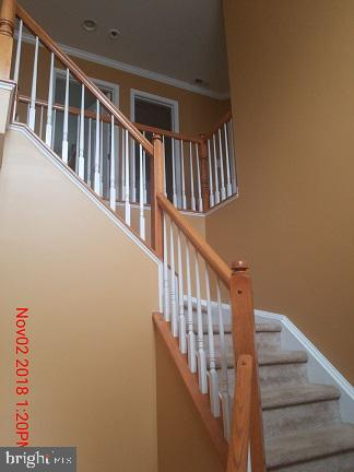 2-Story entry foyer with new carpet on stairs - 75 CROWNCREST RD, FREDERICKSBURG