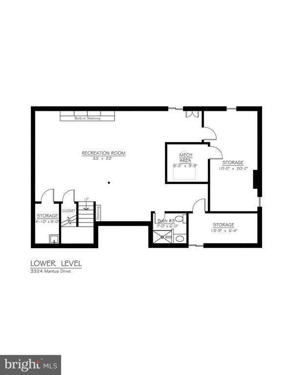 Lower Level Floor Plan - 3324 MANTUA DR, FAIRFAX