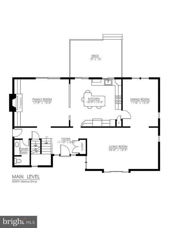 Main Level Floor Plan - 3324 MANTUA DR, FAIRFAX