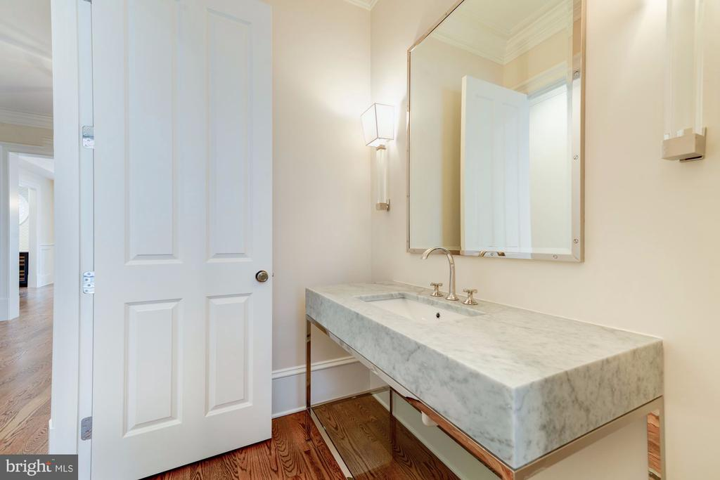 Powder Room with Carrara Marble Pedestal  Sink - 4513 HOBAN RD NW, WASHINGTON