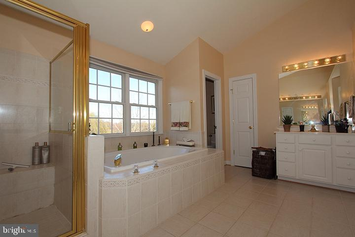 Master bath with soaking tub and separate shower - 40674 JADE CT, LEESBURG