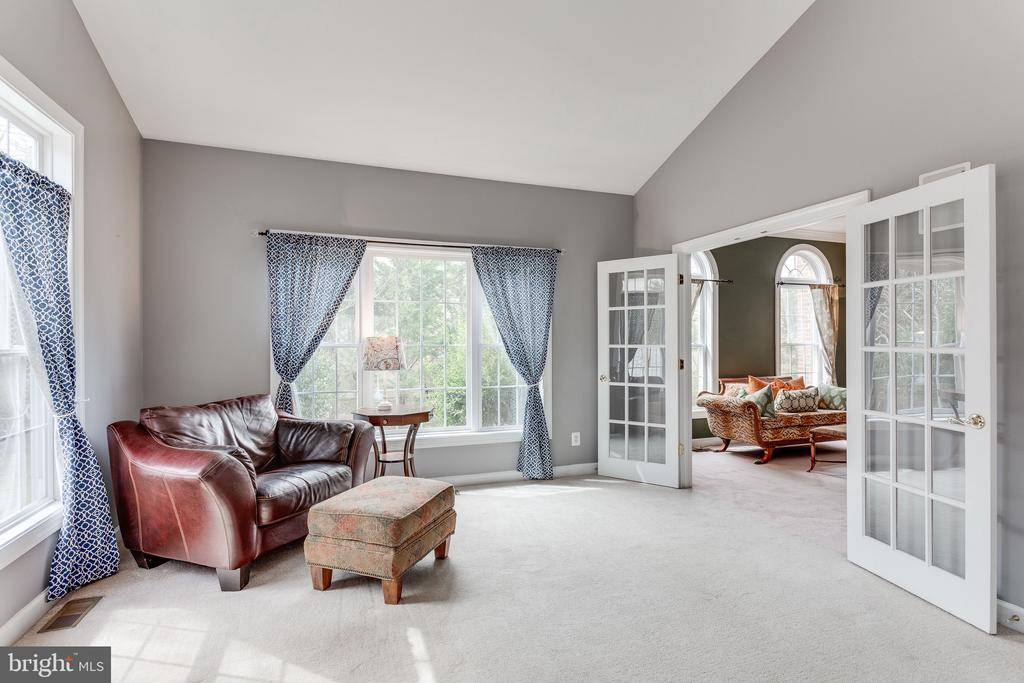 French doors in sun room open into library - 4112 FERRY LANDING RD, ALEXANDRIA