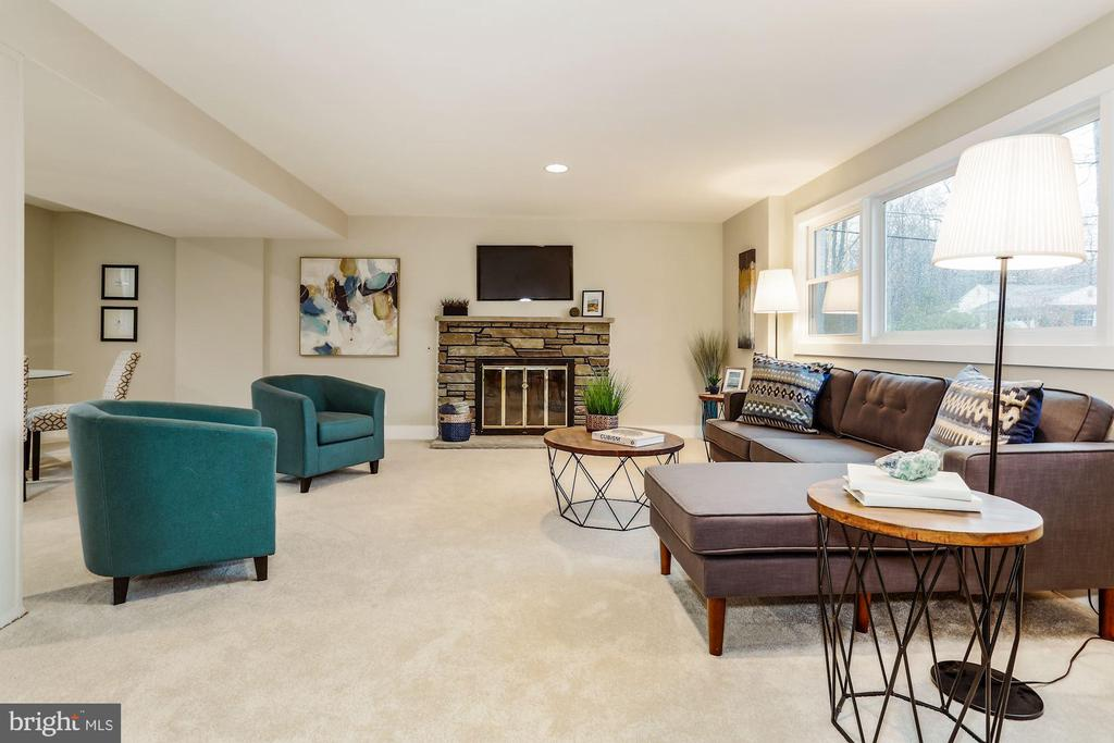 Lower Level Recreation Room with Fireplace - 9215 SAINT MARKS PL, FAIRFAX