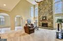 Great Room with 2 story stone fireplace - 6620 HORSESHOE TRL, CLIFTON