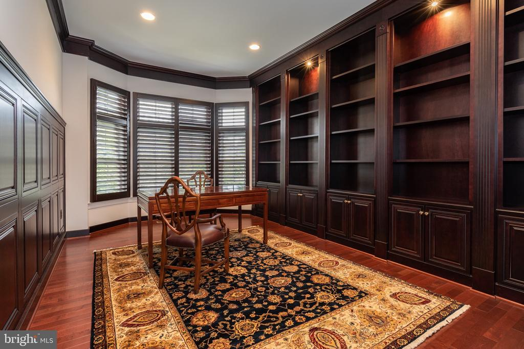 Library with wood finishes and built in cabinetry - 9637 MAYMONT DR, VIENNA