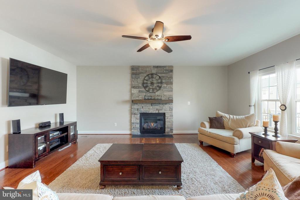 Family room with stone fireplace - 25875 SYCAMORE GROVE PL, ALDIE