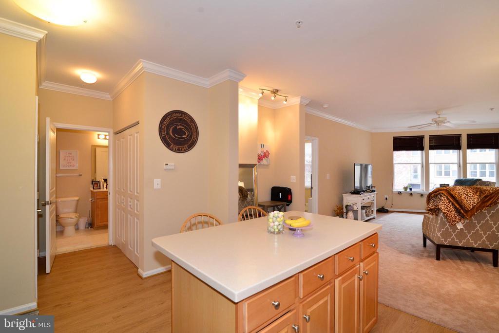 Kitchen and hallway with washer/dryer in closet - 12001 MARKET ST #214, RESTON