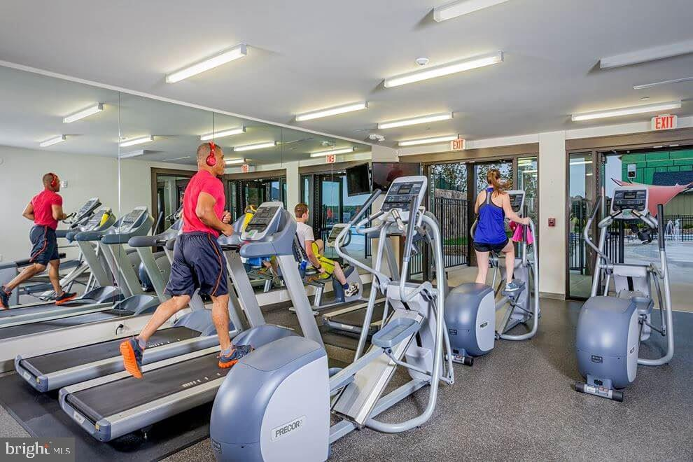 Gym below Embrey House with view of Pool - 861 BASSWOOD DR, STAFFORD