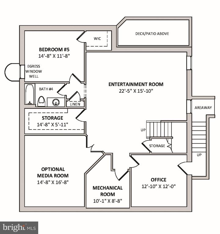 Lower Level Floor Plan - 4610 N CARLIN SPRINGS RD, ARLINGTON