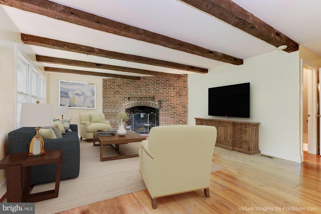 Virtually staged living room w/different furniture - 10620 HUNTER STATION RD, VIENNA