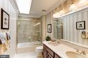 Gorgeous Hallway bath updated with quartz  counter - 1114 ROUND PEBBLE LN, RESTON