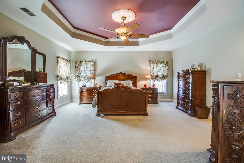 Large master bedroom with tray ceiling - 5916 DEEP CREEK DR, FREDERICKSBURG