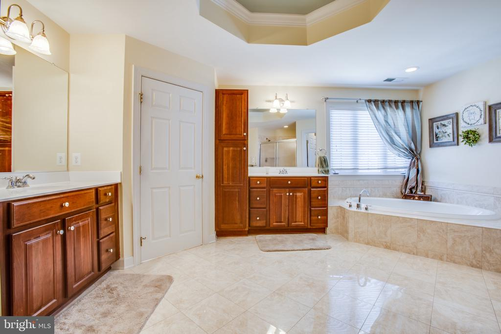 Master bathroom w/ 10 ft. tray ceiling - 5916 DEEP CREEK DR, FREDERICKSBURG