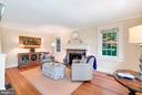 Living room with stone fireplace and mantel - 35422 PAXSON RD, ROUND HILL