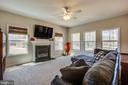 Gas fireplace with tons of lighting in family room - 512 RICHARDS FERRY RD, FREDERICKSBURG