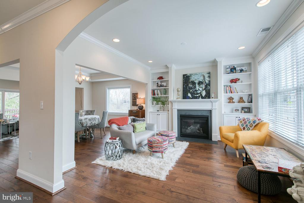 Living room with gas fireplace & builtins - 225 CHARLES ST, FREDERICKSBURG