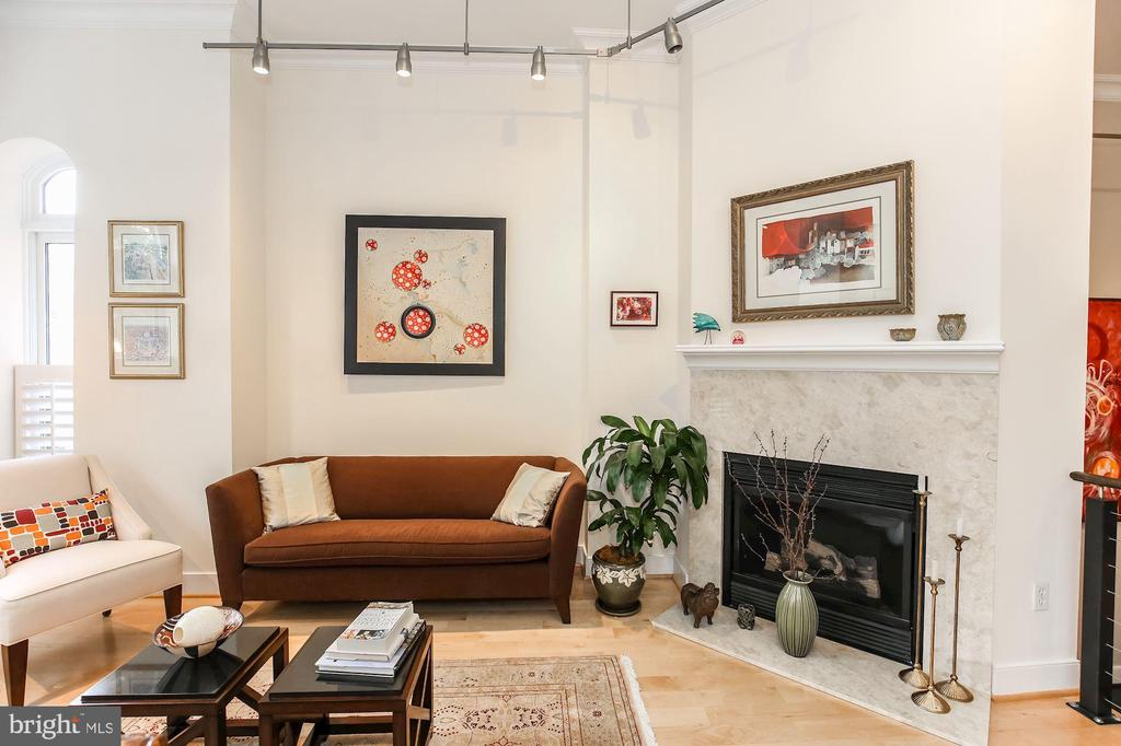 Sunny living room featuring a gas fireplace - 1641 13TH ST NW #A, WASHINGTON