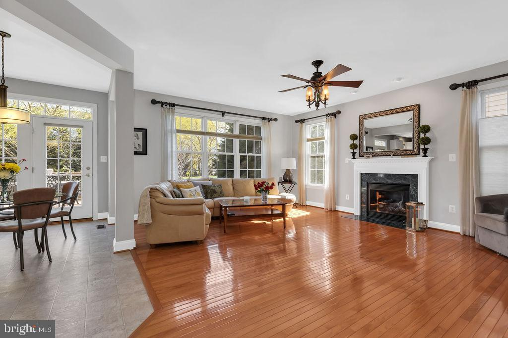 Large family room with gas fireplace - 43769 FARMSTEAD DR, LEESBURG