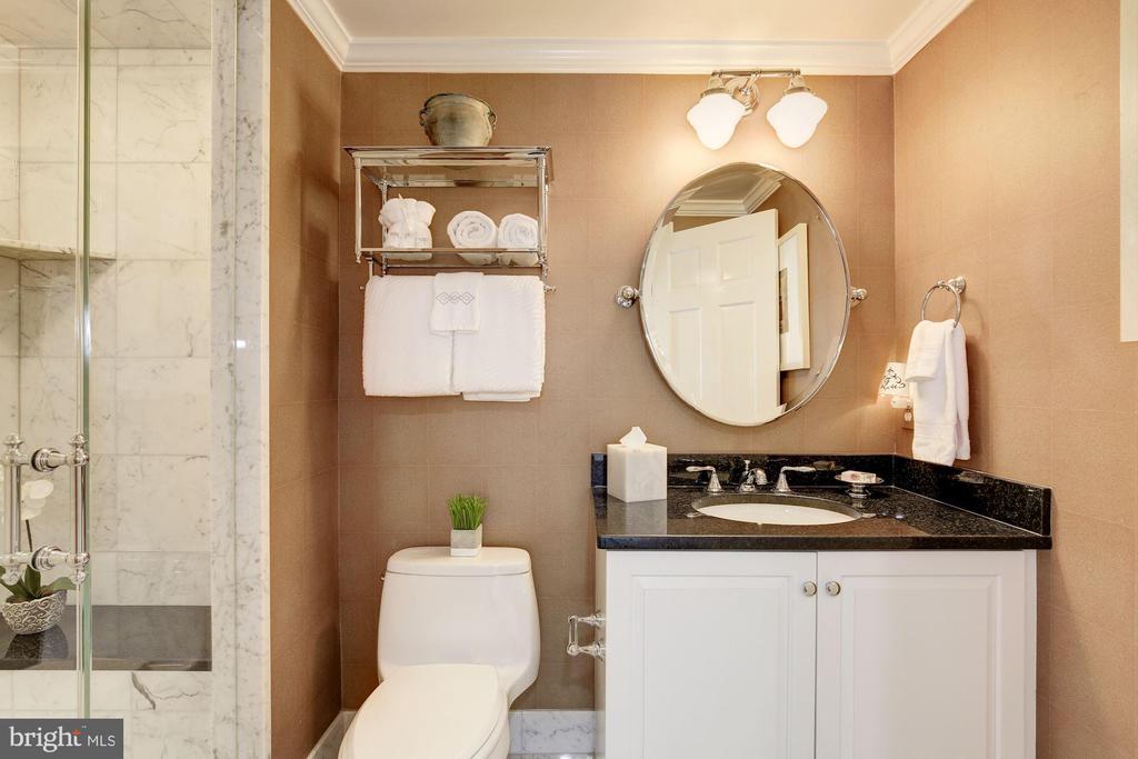 LL hall bath w/ steam shower & marble tile - 224 W WINDSOR AVE, ALEXANDRIA