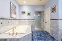 Shared bath with custom tile, shower and bath - 9110 DARA LN, GREAT FALLS