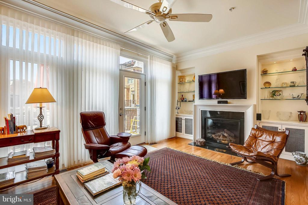 Family Room with gas fireplace and bldt in display - 10884 SYMPHONY PARK DR, NORTH BETHESDA