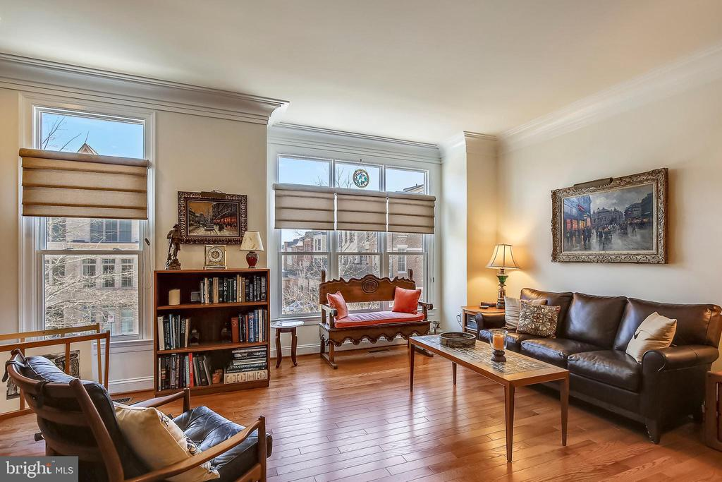 Formal Living Room with walls of windows & transom - 10884 SYMPHONY PARK DR, NORTH BETHESDA