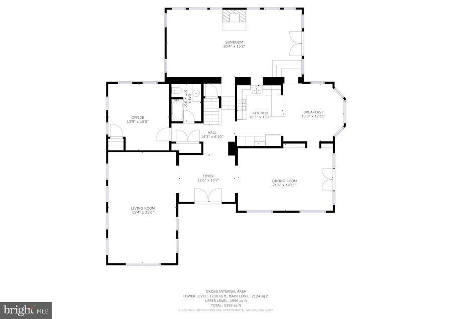 Main Level Floorplan - 7116 FAIRFAX RD, BETHESDA