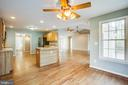 Breakfast nook with ceiling fan - 7407 BARRISTER CT, SPOTSYLVANIA