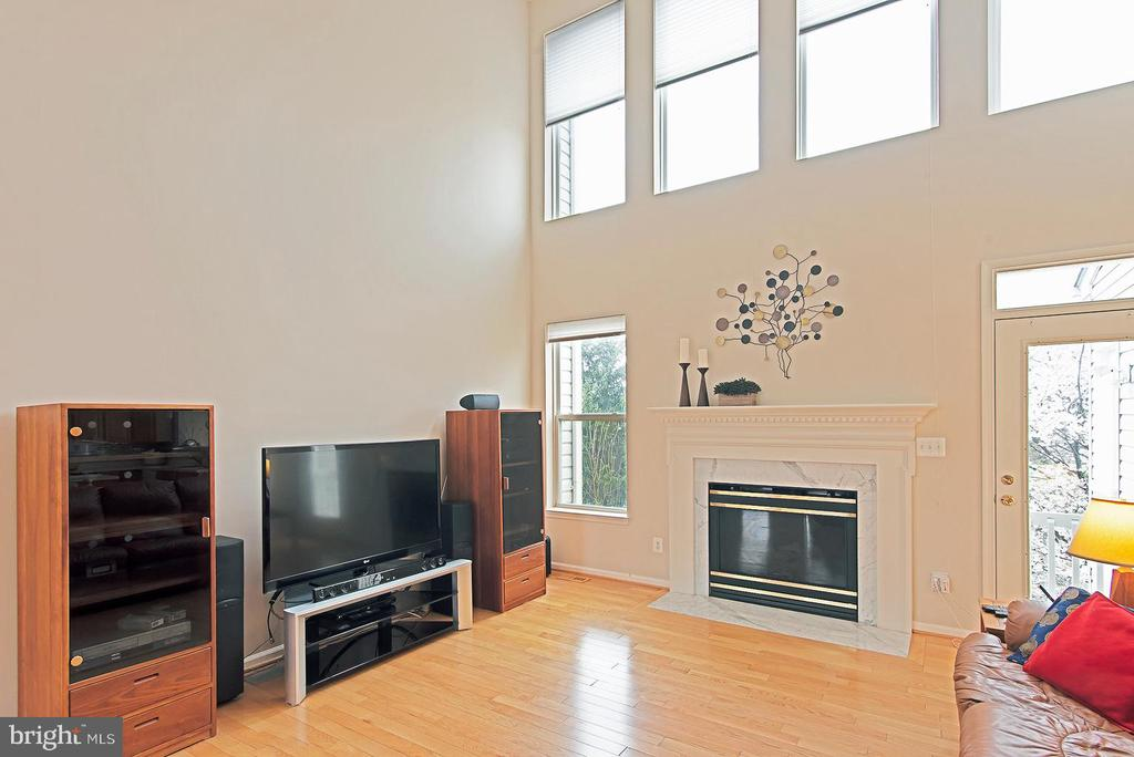 Family room with 22 foot ceilings, gas fireplace, - 5312 MAPLE VALLEY CT, CENTREVILLE
