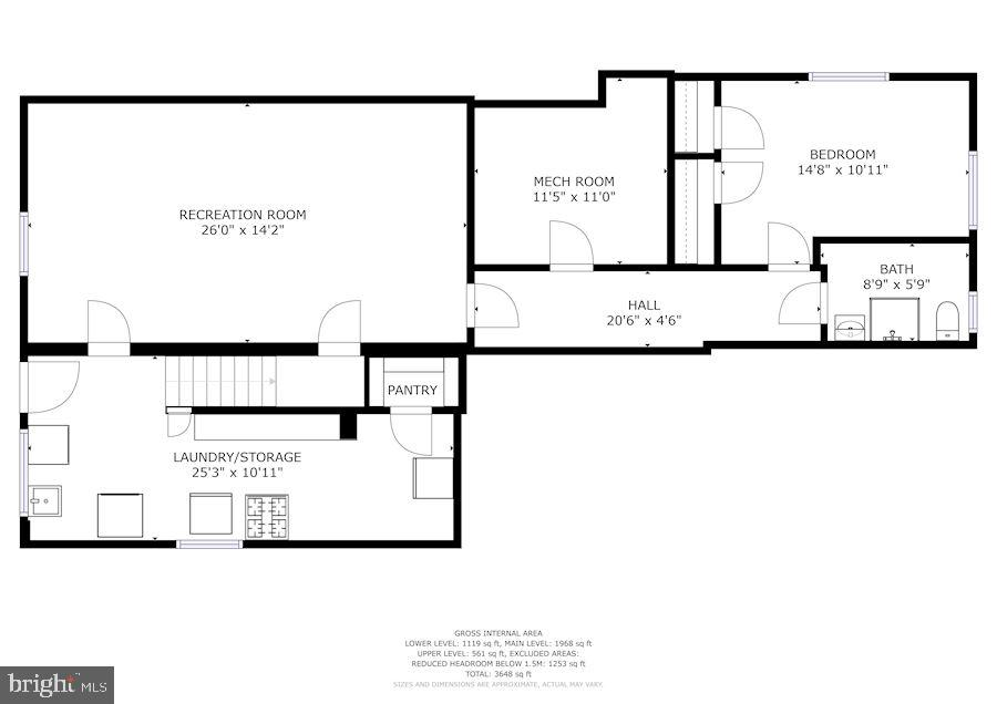 Lower Level Floor Plan - 7116 ALASKA AVE NW, WASHINGTON