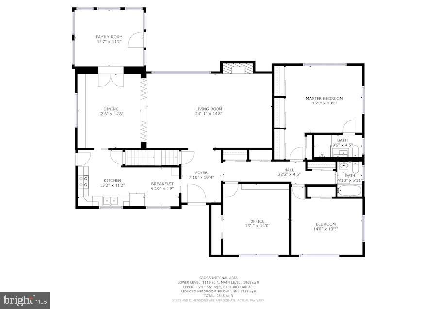 Main Level Floor Plan - 7116 ALASKA AVE NW, WASHINGTON