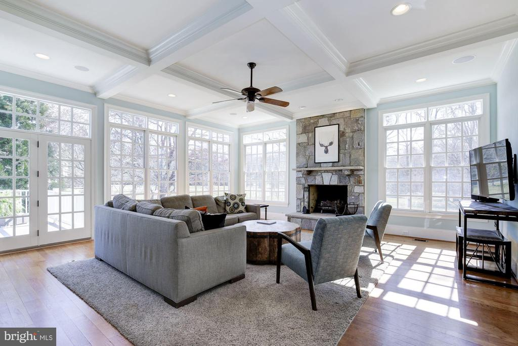 Sunlit Family Room w/Stone Fireplace - 9720 ARNON CHAPEL RD, GREAT FALLS