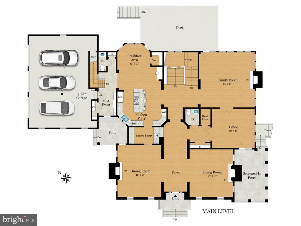 Floor Plan - Main Level - 9720 ARNON CHAPEL RD, GREAT FALLS