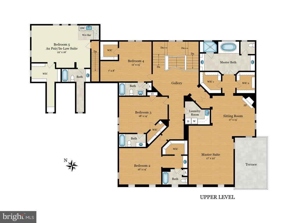 Floor Plan - Upper Level - 9720 ARNON CHAPEL RD, GREAT FALLS