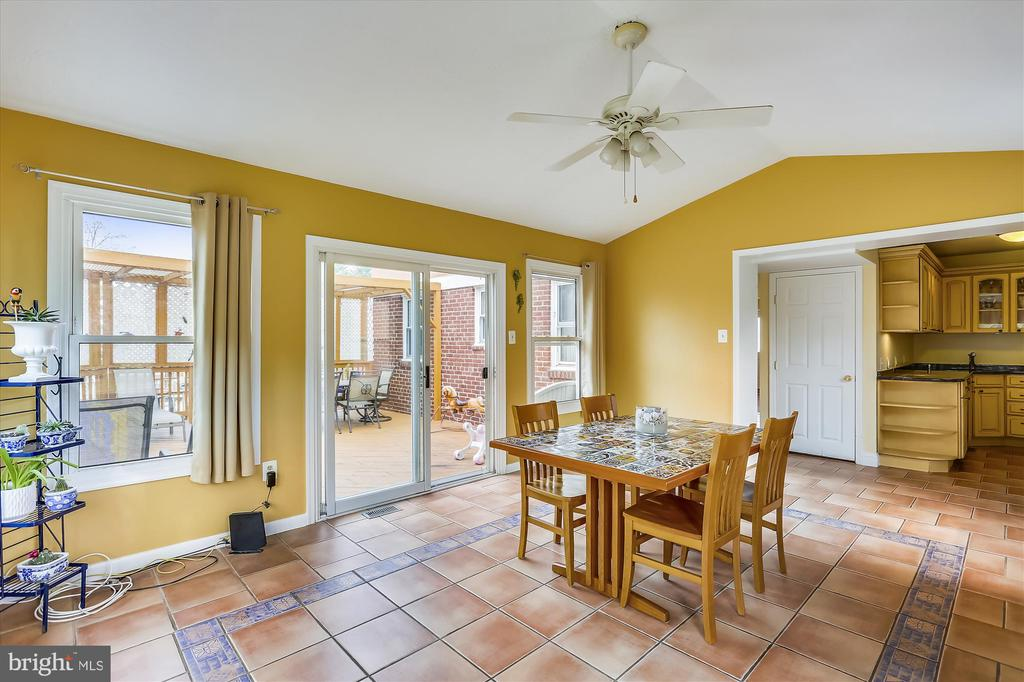 Dining Room  with Cathedral Ceiling opens to deck - 4914 BANGOR DR, KENSINGTON