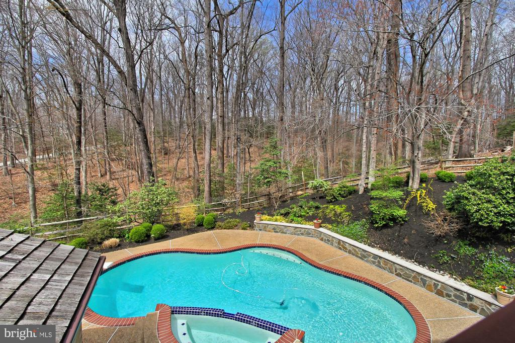 Master suite deck overlooks the pool - 8345 CATHEDRAL FOREST DR, FAIRFAX STATION