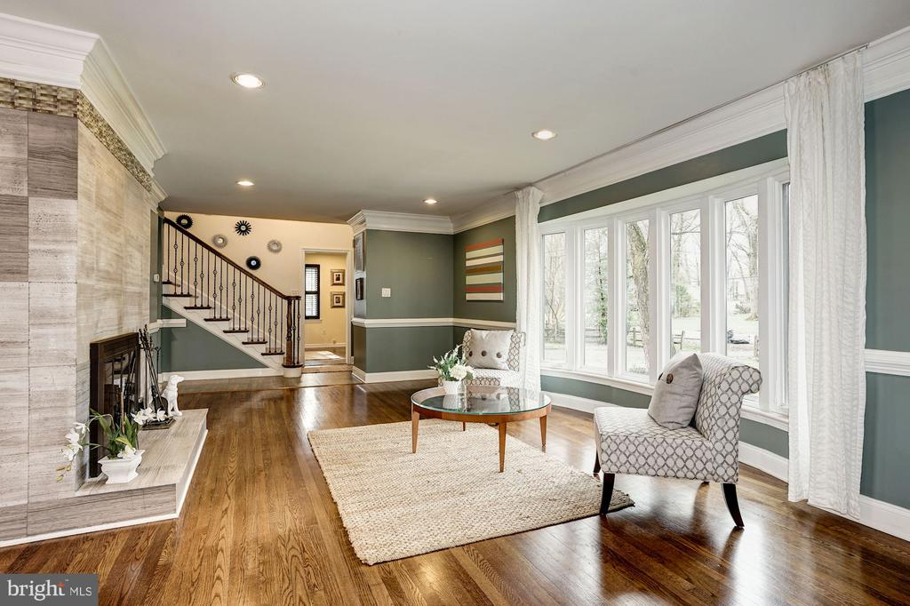 Formal living room with wood burning fireplace - 4324 FERRY LANDING RD, ALEXANDRIA