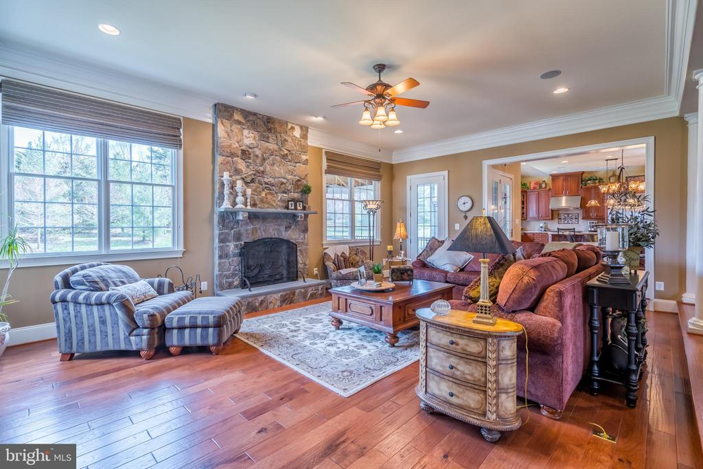 Sunken Family room w Gas Stone Fireplace - 43130 MEADOW GROVE DR, ASHBURN