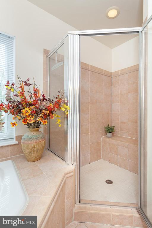 Walk-in shower with built in bench - 20377 WATER VALLEY CT, STERLING