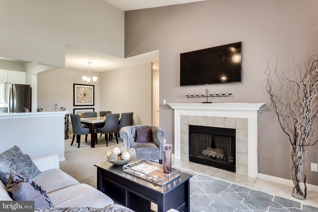 Living Room with nice gas fireplace - 20281 BEECHWOOD TER #302, ASHBURN