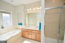Master bath with double vanity, soaking tub - 19082 PILEATED TER, LEESBURG