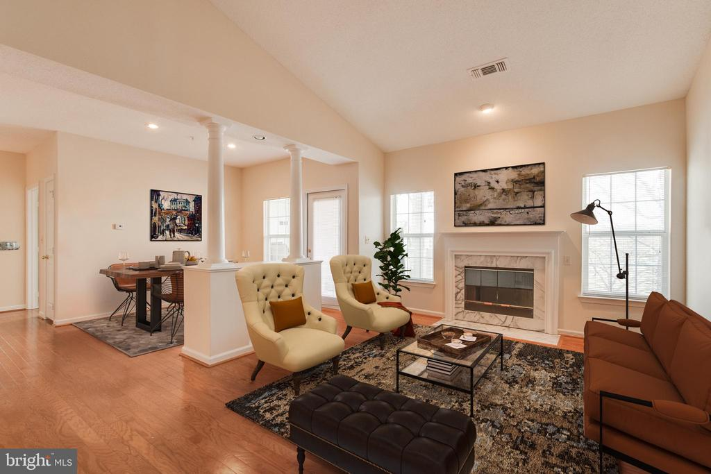 Living room with open floor plan - 1716 LAKE SHORE CREST DR #35, RESTON