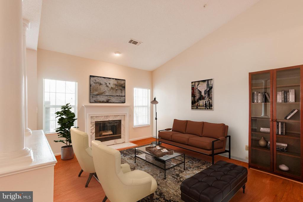 Gas fireplace and built in book shelves - 1716 LAKE SHORE CREST DR #35, RESTON