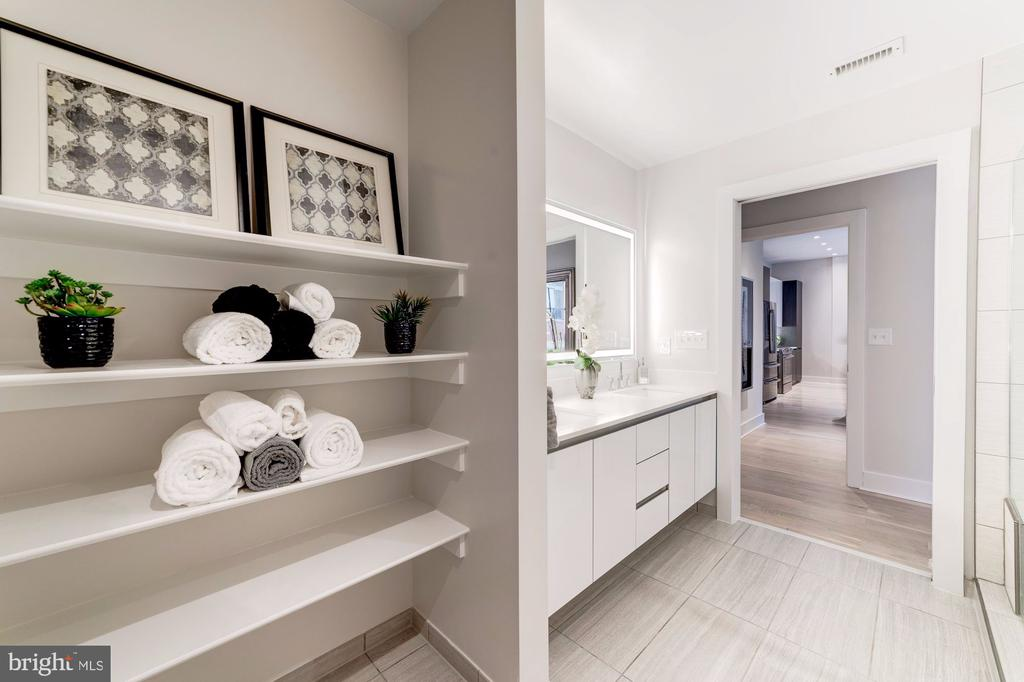 Linen shelves in large master bathroom - 1745 N ST NW #208, WASHINGTON