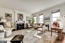 Living room, with wood-burning fireplace - 2029 CONNECTICUT AVE NW #71, WASHINGTON