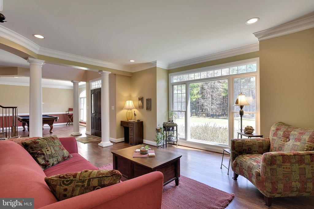 Columned Living Room with Sunlit Window Wall - 15579 WOODGROVE RD, PURCELLVILLE