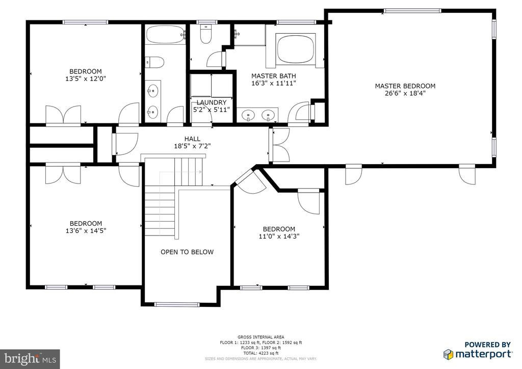 Upper level floor plan - 78 TIMBERIDGE DR, FREDERICKSBURG