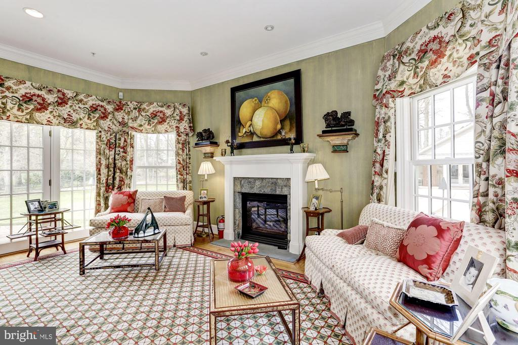 Family Room with Fireplace and flanking French Drs - 9606 FALLS, POTOMAC
